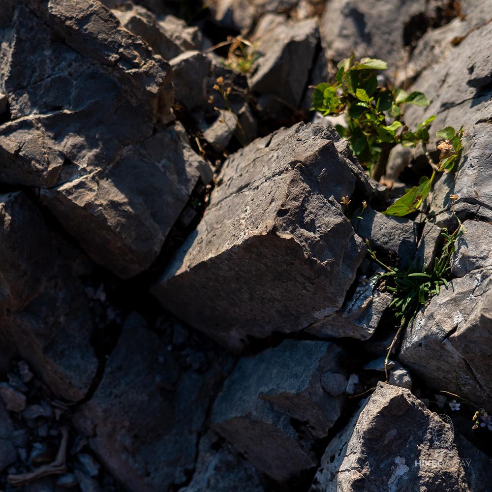 De rotsen op het pad der goden